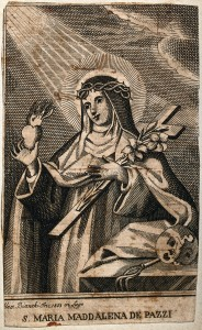 V0032625 Saint Mary Magdalen dei Pazzi. Etching by Bianchi, 1853.