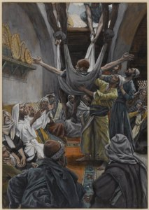 Brooklyn_Museum_-_The_Palsied_Man_Let_Down_through_the_Roof_(Le_paralytique_descendu_du_toit)_-_James_Tissot_-_overall