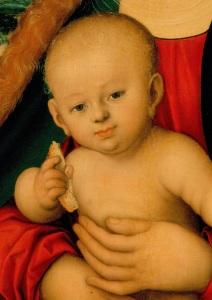 Мадонна с младенцем под яблоней  Холст (перев с дерева), масло 87х59 см  Между 1520-1526