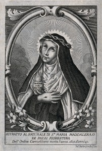 V0032624 Saint Mary Magdalen dei Pazzi. Etching by G. Fabbri, 1757.