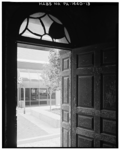 110_SANSOM_STREET,_FRONT_ENTRANCE_WITH_DOOR_AJAR_-_James_McCrea_Houses,_108-110_Sansom_Street,_Philadelphia,_Philadelphia_County,_PA_HABS_PA,51-PHILA,564-13