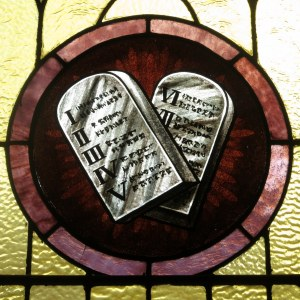 Saint_Joseph_Catholic_Church_(Wapakoneta,_Ohio)_-_stained_glass,_the_Ten_Commandments